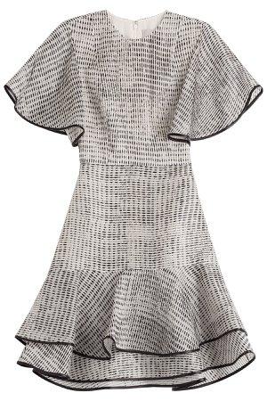 Woodgrain Raffia Organza Short Sleeve Bias Ruffle Dress Gr. US 4