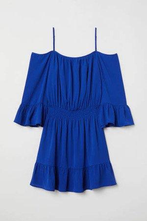 Open-shoulder Dress - Blue
