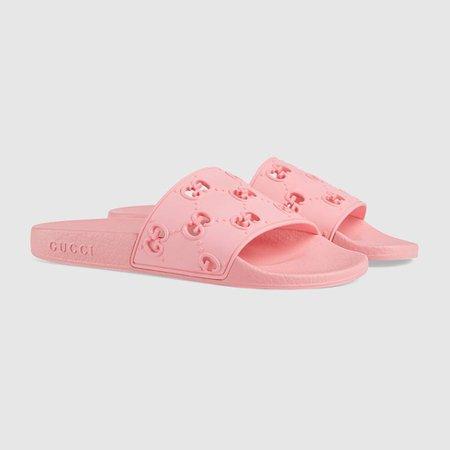 Pink Rubber Women's GG Slide Sandal | GUCCI® US