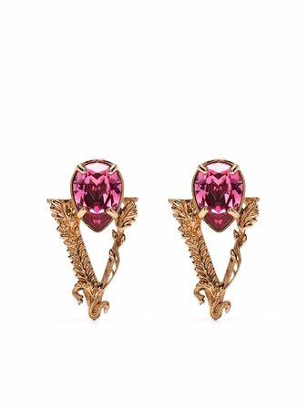 Versace crystal-embellished Virtus earrings - FARFETCH