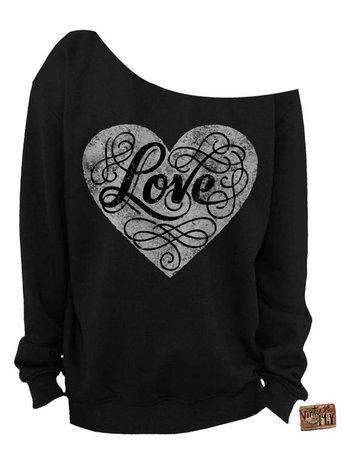 off shoulder black sweatshirt with heart - Google Search