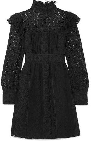 Rows Of Flowers Cotton-blend Guipure Lace Dress - Black