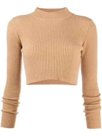 ANDAMANE Enny Cropped Wool-cashmere Sweater In Neutrals