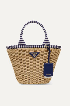 Blue Giardiniera striped canvas-trimmed wicker tote | Prada | NET-A-PORTER