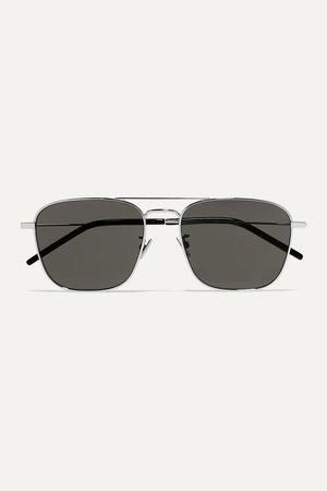 Silver Aviator-style silver-tone sunglasses | SAINT LAURENT | NET-A-PORTER