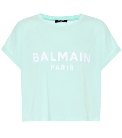 Cropped Logo Cotton T-Shirt - Balmain | Mytheresa