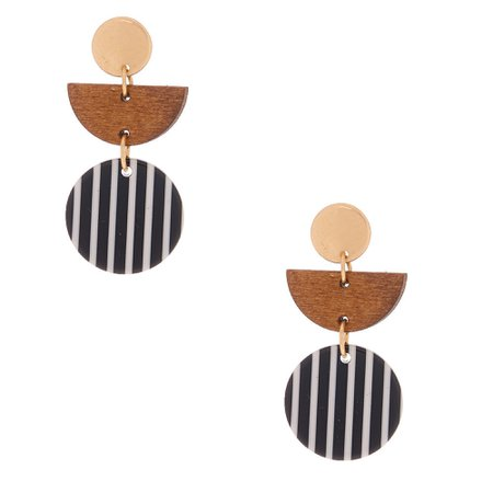 "Wood & Resin 1.5"" Drop Earrings 