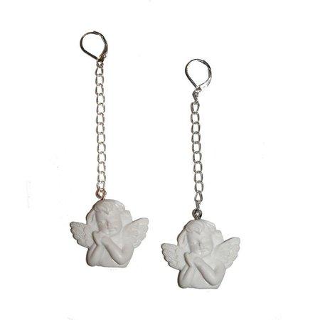 Chained Cherub Earrings large angle earrings angel baby | Etsy