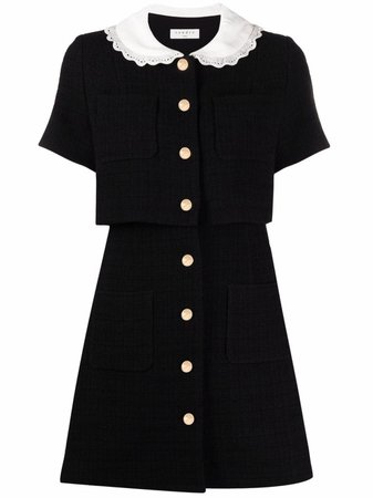 Sandro Paris contrast-collar short dress