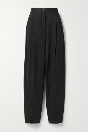 Pleated Wool-blend Straight-leg Pants - Charcoal