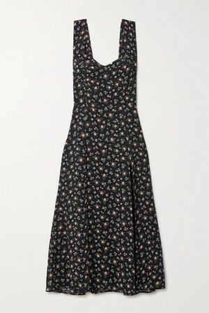 Fulton Floral-print Georgette Midi Dress - Black