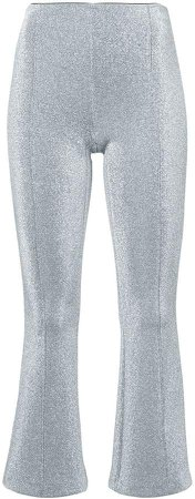 metallic effect cropped trousers