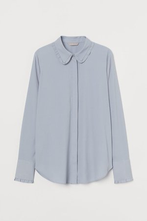 Ruffle-trimmed Blouse - Turquoise