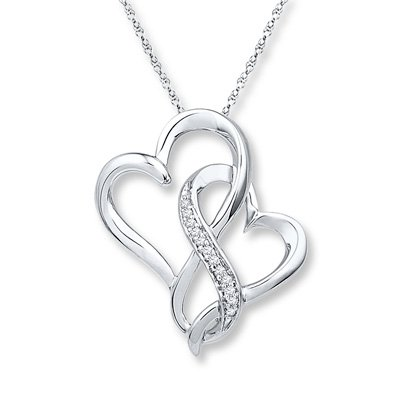 Infinity Heart Necklace 1/20 ct tw Diamonds Sterling Silver - 173122209 - Kay