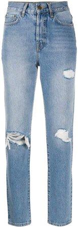 High-Rise Distressed Straight Leg Jeans