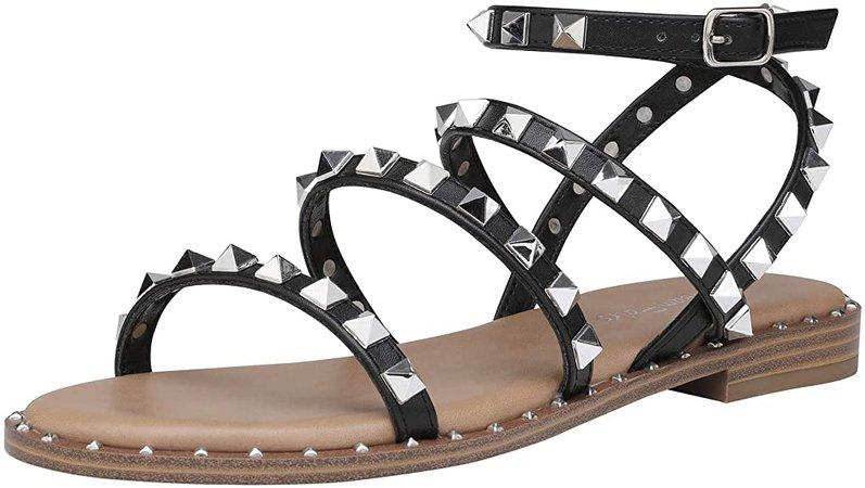 Amazon.com | DREAM PAIRS Women's Dfs211 Gladiator Cute Summer Flat Sandals, Black, Size5 | Flats