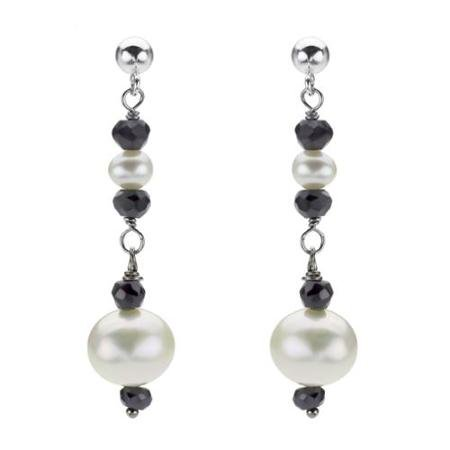 Buy DaVonna Silver White FW Pearl and Black Onyx Drop Earrings with Gift Box in Cheap Price on Alibaba.com