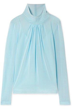 Victoria Beckham   Gathered stretch-tulle blouse   NET-A-PORTER.COM