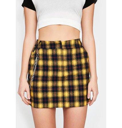 Tartan Plaid Chain Mini Skirt High Waist - Yellow | Dolls Kill