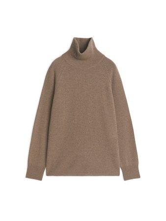 Cashmere Turtleneck Jumper - Beige Melange - Underwear & Loungewear - ARKET DK
