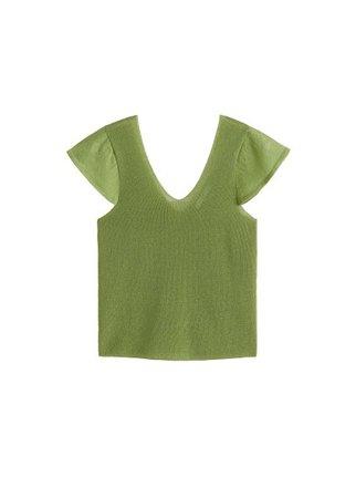 MANGO Ruffle sleeve t-shirt