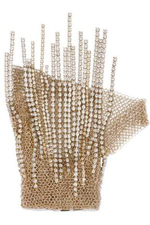 Lanvin | Gold-tone crystal glove | NET-A-PORTER.COM