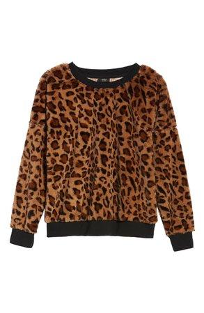 Only Tiffany Leopard Fleece Sweater