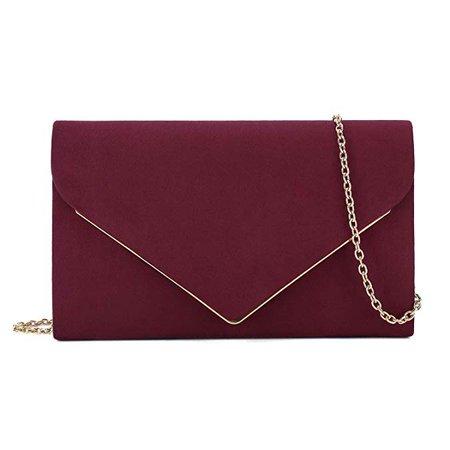 Charming Tailor Faux Suede Clutch Bag Elegant Metal Binding Evening Bag for Wedding/Prom/Black-tie Events (Burgundy): Handbags: Amazon.com