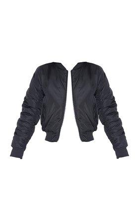 Black Bomber Jacket With Ribbed Hem   PrettyLittleThing USA