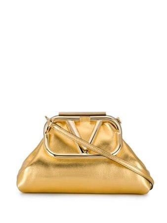 Valentino Garavani Angular VLOGO Gold Clutch Bag - Farfetch