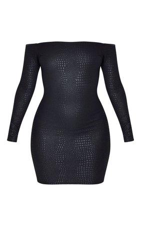 Black Textured Croc Bardot Bodycon Dress | PrettyLittleThing