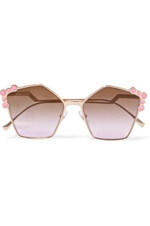 Fendi | Studded square-frame rose gold-tone sunglasses | NET-A-PORTER.COM