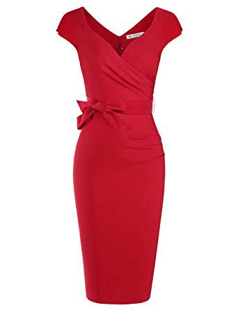 MUXXN Women's Vintage 1950s Style Wrap V Neck Tie Waist Formal Cocktail Dress at Amazon Women's Clothing store: