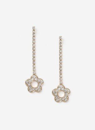 Gold Look Crystal Daisy Drop Earrings | Miss Selfridge