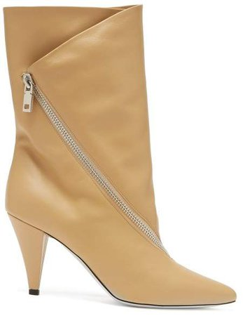 Point Toe Calf Height Leather Boots - Womens - Beige