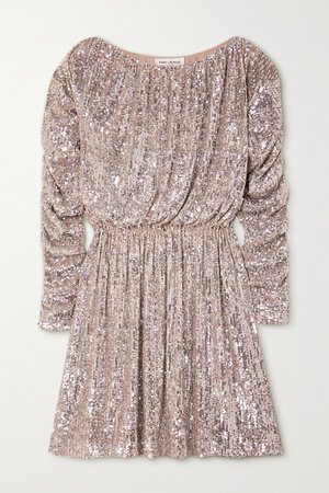 Silver Ruched sequined tulle mini dress   SAINT LAURENT   NET-A-PORTER