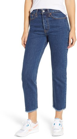 Wedgie High Waist Ankle Straight Leg Jeans