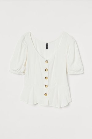 Puff-sleeved Blouse - White - | H&M US