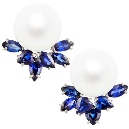 Ella Gafter Blue Sapphire and South Sea Pearl Diamond Earrings For Sale at 1stDibs