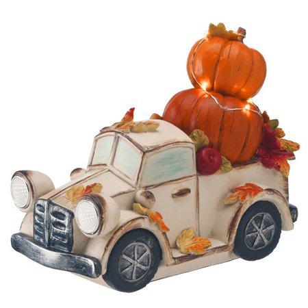 "9"" White and Orange LED Lighted Thanksgiving Pumpkin Truck Tabletop Decor - Walmart.com - Walmart.com"