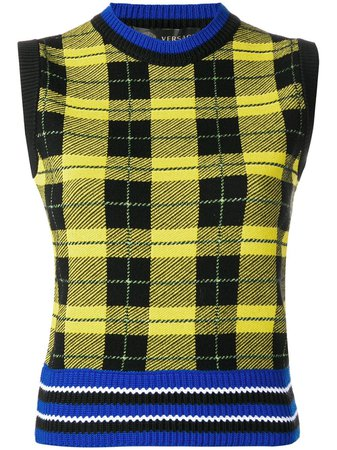VERSACE - Women's Check Knit Vest