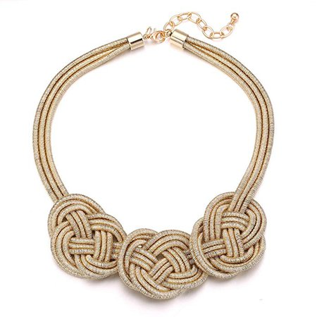 Gold Chunky Necklace, Punk Bib Statement Choker Collar Braided Knot Rope Necklace: Clothing