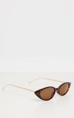 Brown Tortoiseshell Cat Eye Retro Frame Sunglasses   PrettyLittleThing