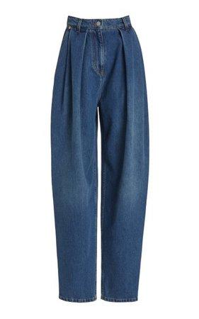 Pleated Rigid High-Rise Tapered-Leg Jeans By Magda Butrym   Moda Operandi