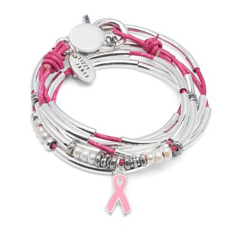 Amelia Breast Cancer Awareness - Leather Wrap Bracelet & Necklace – Lizzy James