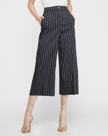 High Waisted Linen-Blend Pinstripe Cropped Wide Leg Pant