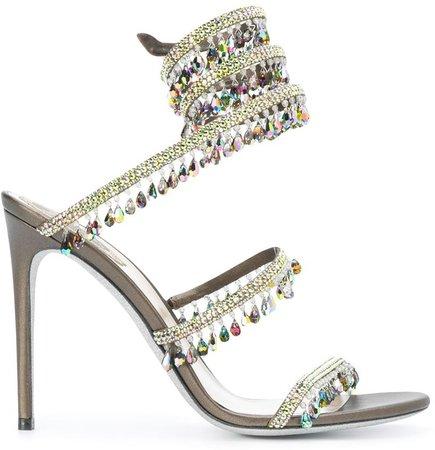 Embellished Strappy High-Heel Sandals