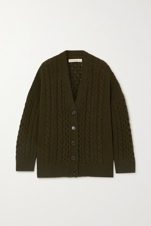 Net Sustain Lena Cable-knit Wool Cardigan - Army green