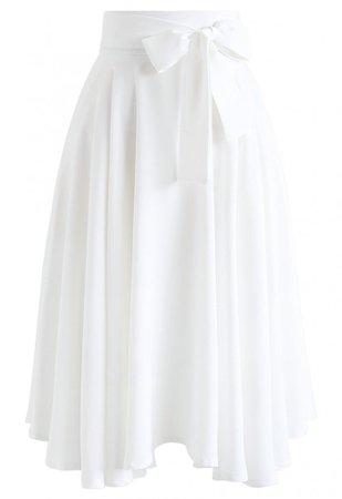 Flare Hem Bowknot Waist Midi Skirt in White - Skirt - BOTTOMS - Retro, Indie and Unique Fashion