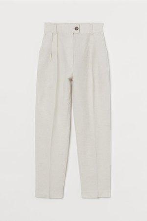 Linen-blend Pants - Light beige - Ladies   H&M US